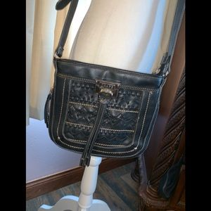 Chaps black crossbody bag 10 inches wide by 8 tall